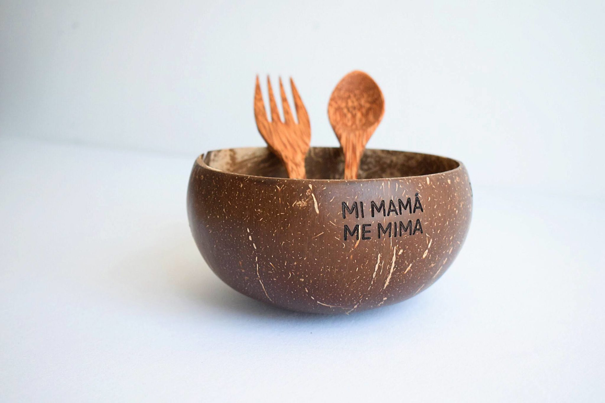 Bowl coco grande liso y cubiertos (personalizado)