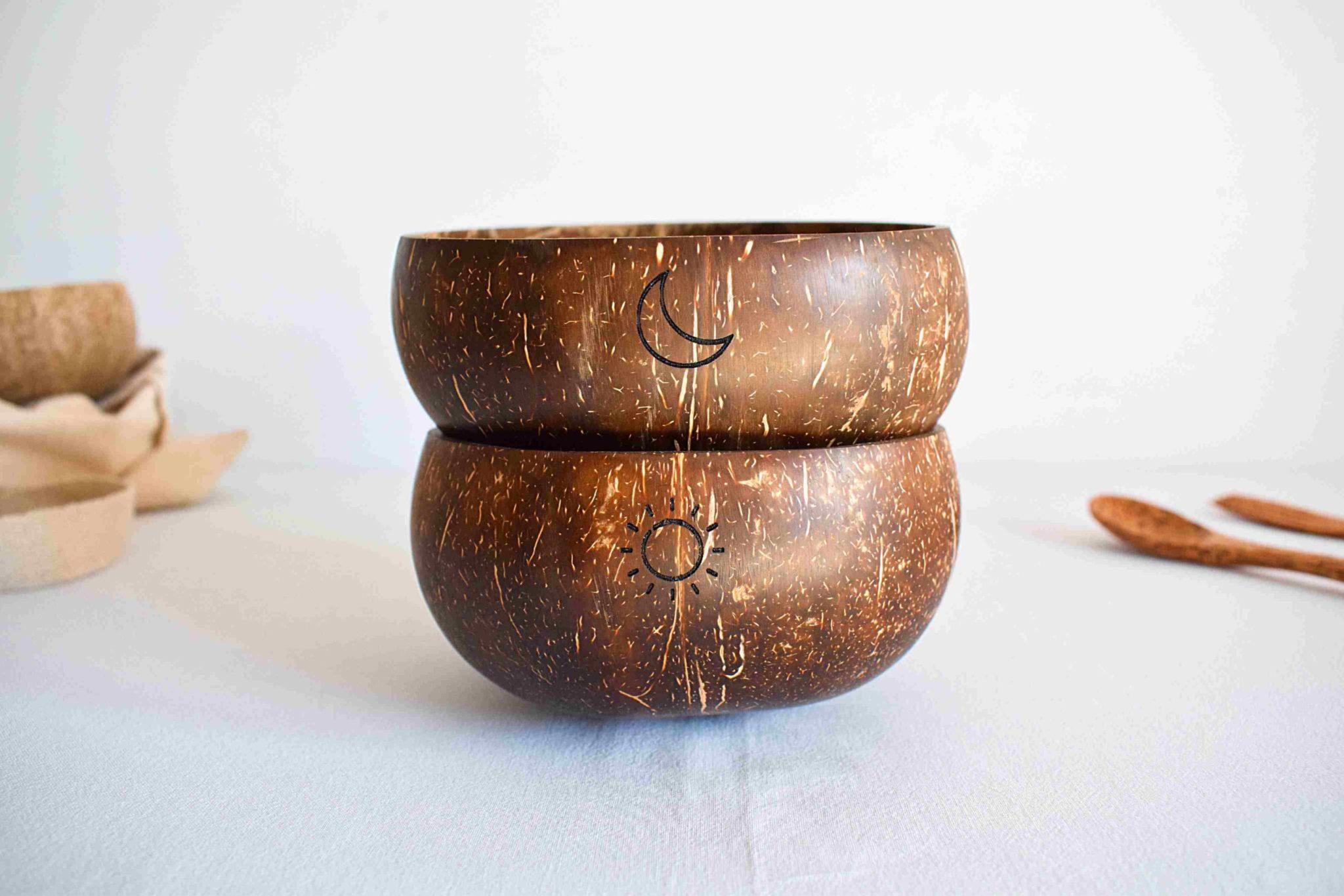 Bowls de coco personalizados post sol y luna