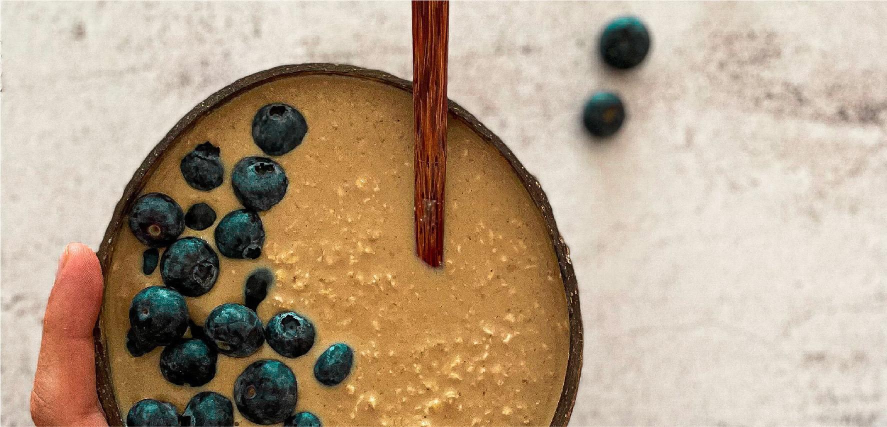 Receta de Porridge de Café y Canela con arándanos azules_Portada